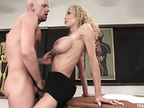 Blonde tranny sucks a dick and fucks her handsome stud