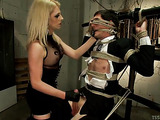Blonde tranny is here to fuck this tied up dude
