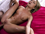 Nature lover petite blonde babe in pink outfit likes a huge cock in her ass