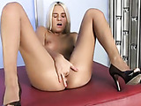 Hot blonde coed takes her undies off and fucks her twat with her fingers