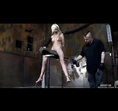 Blonde bombshell gets her pussy and tits covered in unforgiving clothespins.