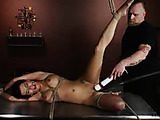 Babe in black heels gets tied legs-open for hitachi torture.