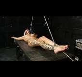 Tattooed blonde girl is fingerbanged mercilessly while vertically tied up.