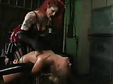 Slave blonde gets bondaged and humiliated by dude and babe masters.