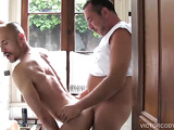 Sexy bottom guy caught naked inside an unlocked bathroom by a matured top, resulting a bareback pound