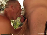 The fuck fest continues as a skinny guy opened her legs on a sling allowing horny cock to drill his ass