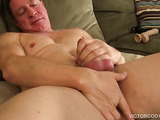 New man on camera shows his way of satisfying himself by stroking his fat dick and dildo fucking his ass