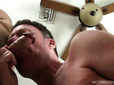 Bottom guy gets his face red while sucking a man's horny cock before it drills his hungry ass