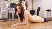 horny redhead sucks her