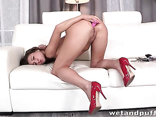 busty chick uses dildo