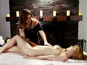 redhead masseuse rubs the
