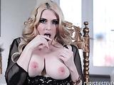 Pretty blonde girl pulls her little black pantie aside to finger her cunt