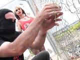 Bitch in high heels masturbates as graffiti artists work their magic in an abandoned rail yard