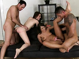 Two round ass bimbos get their cunts fucked hard by two blokes