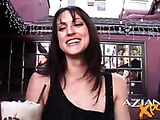Misty flashes her smooth and yummy pussy at a public place and lets us imagine how good it can be to fuck her