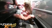 hot blonde pink dress