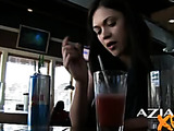 Pretty girl decides to remove her panties in the bar while having some drinks