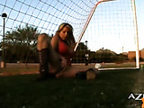 This hot blonde plays masturbation sport right at the court, see her hard pink tits and lusty pussy