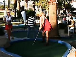 blonde angie plays golf