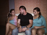 Two vuluptuous girls in club jerk, suck, and ride lucky guy in public