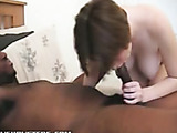 Short-haired babe deepthroats and gets fucked by black cock, squirts loads!