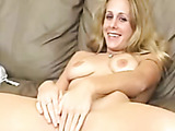 Blonde lady rubs clit on the right stop to get squirt going.