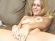blonde lady rubs clit