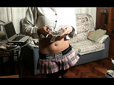 Totally dominating hottie in plaid miniskirt satisfies random fat guy