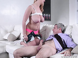 After sucking the cock of old guy, blonde got his spunk on her large boobs