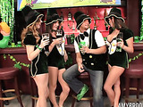 The bartender gave the lovely ladies wearing leprechaun outfits some wonderful drinks and a massive cock to choke on and ride