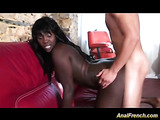 Black girl playing strip poker gets tag teamed by two guys with her mouth and ass