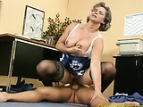 Horny granny with gray hair gets fucked by a handsome stud