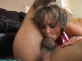 Hot blonde gives a wonderful deep throat blowjob and receives a big facial