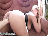 Succulent blonde with glasses gets her anal muscles destroyed by a giant fist