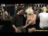 Angelic blonde in nude stockings in a steamy session with couple of nasty guys in a bar
