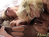 Three horny beautiful ladies in bed plays with each other's body