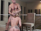 two hot babes suck and fucks dude on the couch