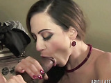Horny milf with giant tits gives a hung guy a blowjob.