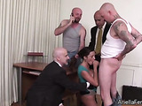 Hot secretary sucks on dick and gets spanked at the office.