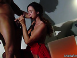 Curvy slut gives an extra wet blow job on the couch.