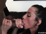 Cock hungry babe enjoys stuffing her mouth with a big shaft.