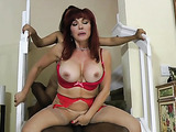 Redhead and brunette with big tits share a black guy's big cock