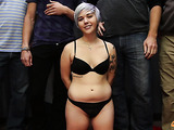 Silver haired slut with big hips loves to suck many dicks at once