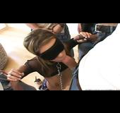 Strict brunette in see through black top and slut heels blindfolded while sucking random cocks