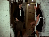 Gaudy redhead wearing a housekeeping outfit gets exotic while riding a huge dick in a barn