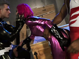 Magnetic pink haired gal wearing a power ranger pink costume gets double fucked naughty