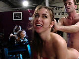 Teasing brunette with a bushy vagina doing an exotic riding of a guy on a brown leather chair