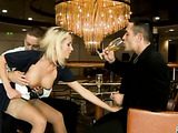 Blonde in blue maid's outfit sucked two ugly pricks in hotel lobby