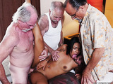 After showing her tits outdoors sexy brunette in pink bikini enjoying pussy pounding on the bed with three old men