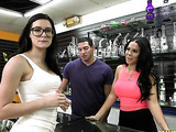 Busty brunette in glasses took of her white outfit and panty before cock riding on the floor of smoke shop